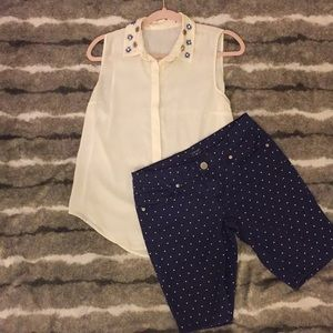 White Blouse and Blue PolkaDotted Polo Shorts
